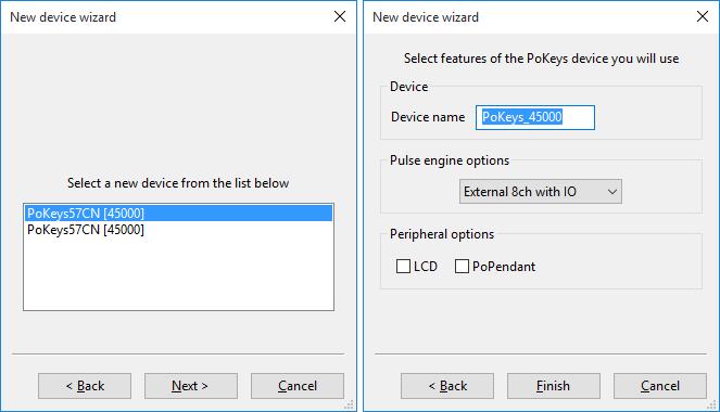 Adding a new PoKeys57CNC device