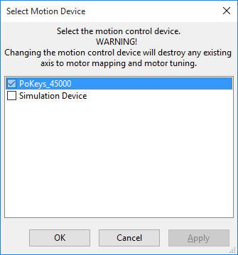 Select Mach 4 motion controller device