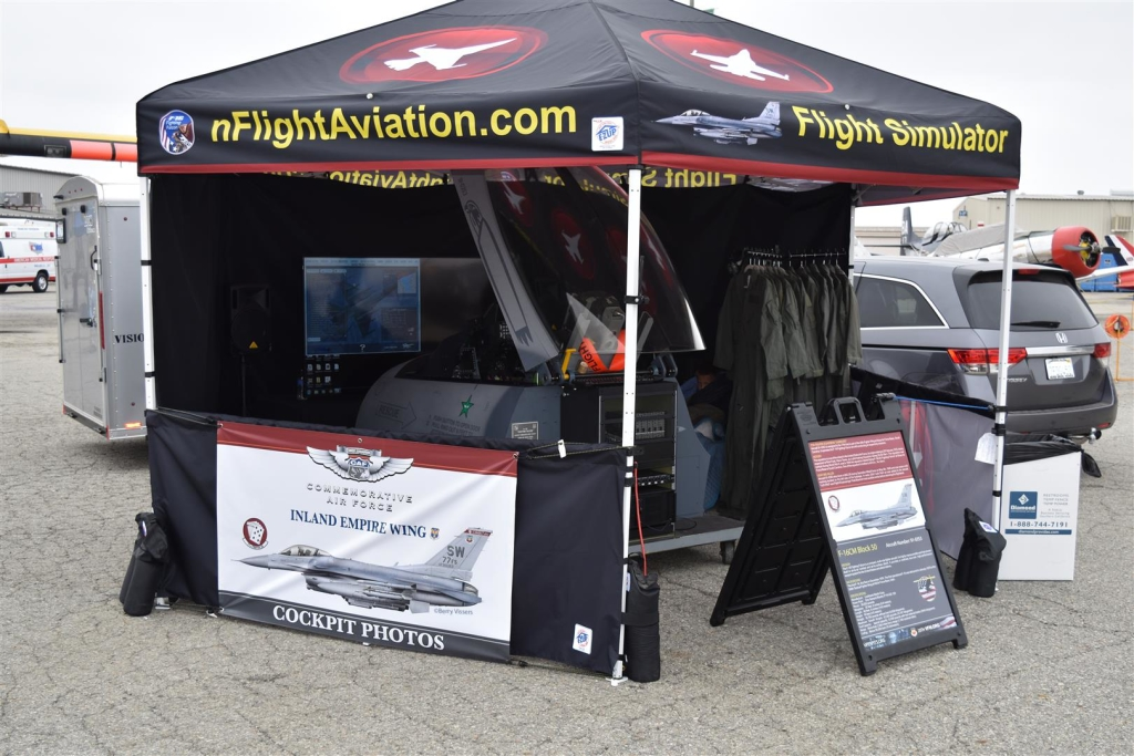 F16 flight simulator booth, showing simulator with PoKeys as flight simulator interface