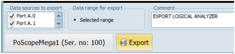 Logic analyzer export settings