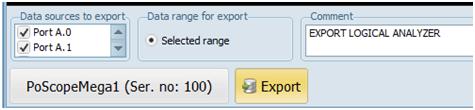Logic analyzer export settings