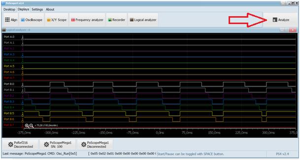 Visualized signals in logic analyzer
