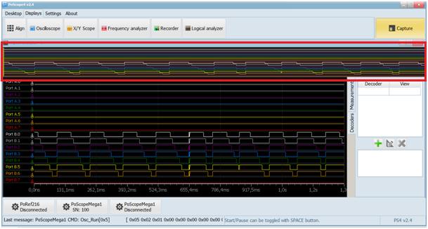 Logic analyzer in Analyze mode with Overview window open