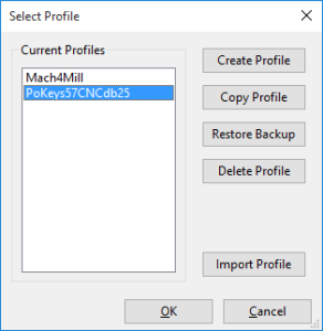 Mach4 profile selection for PoKeys57CNCdb25