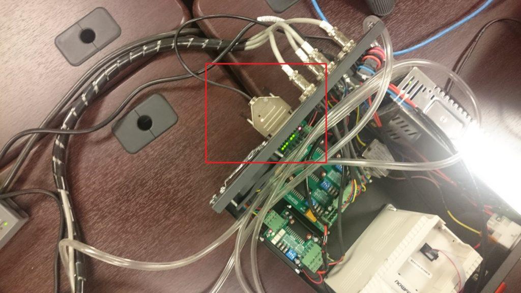 PoKeys57CNCdb25 with Mach3 running on a desktop CNC