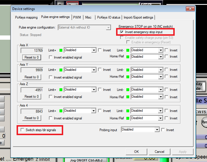 Configure PoKeys57CNCdb25 settings