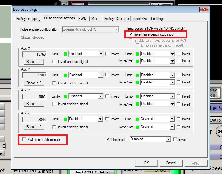 Configure PoKeys57CNCdb25 settings