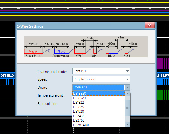 1-wire protocol decoder settings dialog