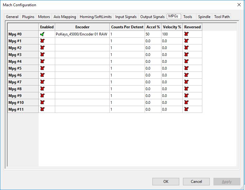 MPG settings in Mach4