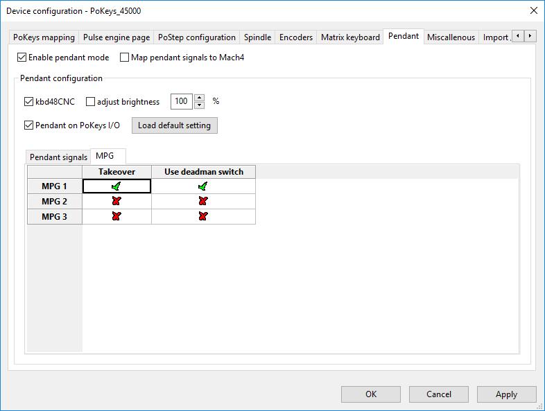 MPG settings in plugin