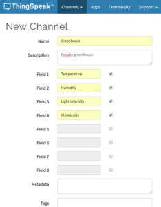 Picture 2: Channel configuration on ThingSpeak
