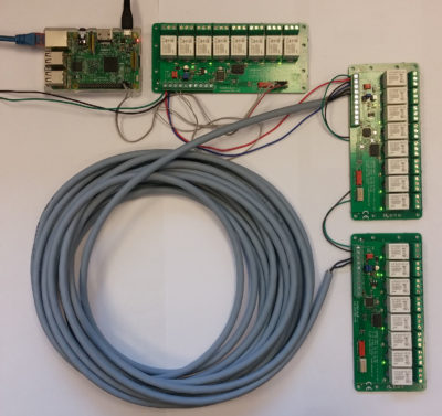 Picture 2: Raspberry Pi and 3 PoRelay8 boards