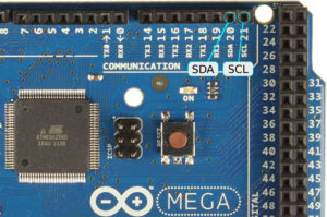 Picture 2: SDA and SCL connectors on Arduino Mega2560, GND is not displayed
