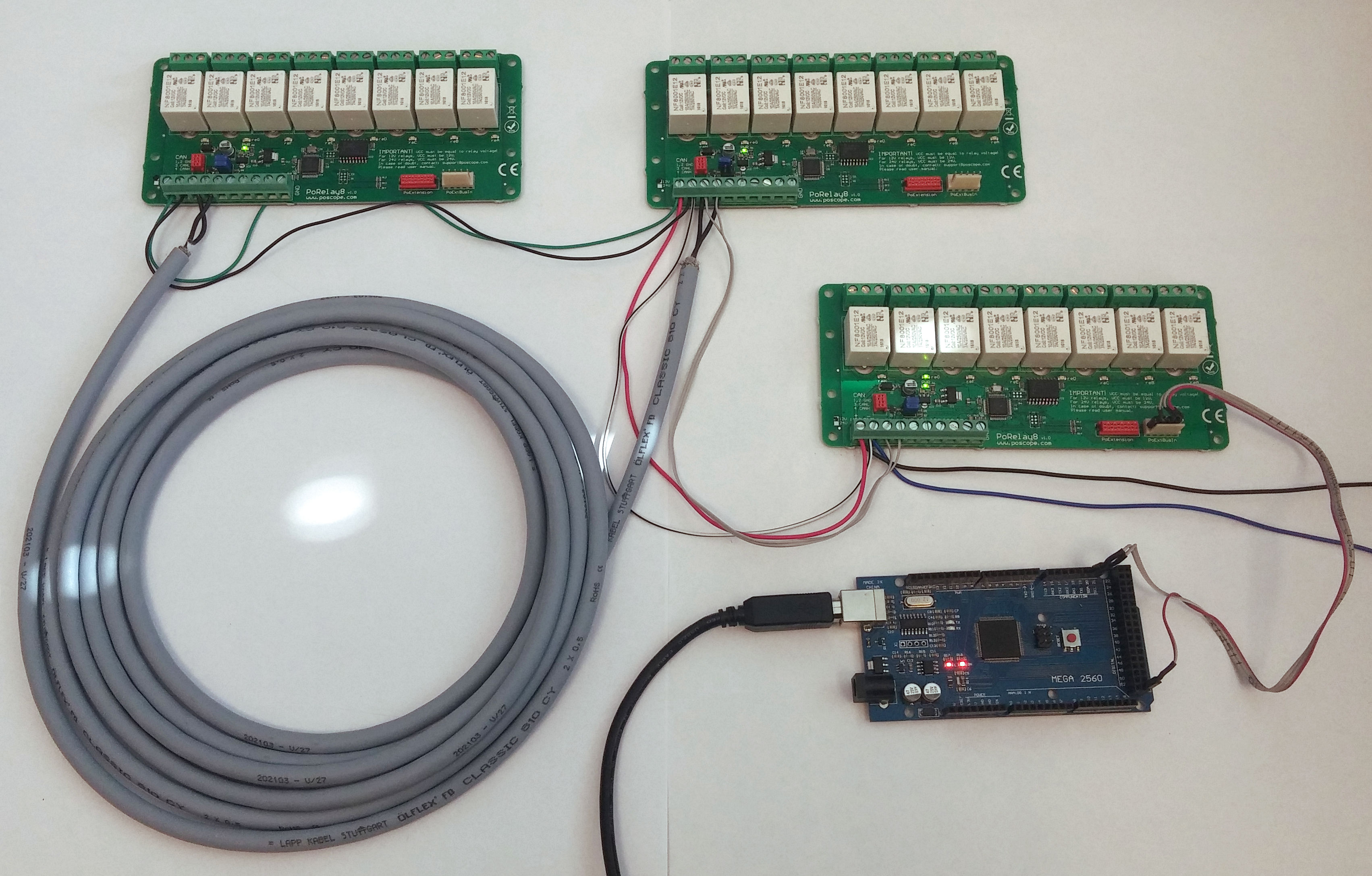 Arduino Mega2560 and PoRelay8 relay boards with CAN bus - PoBlog™