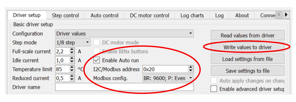 steper motor driver with modbus communication -settings