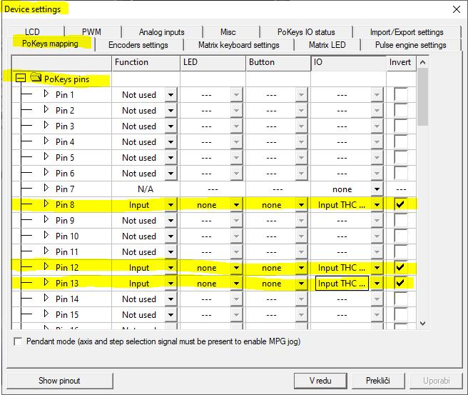 Mach3 Plasma setup - PlasmaSensOut plugin settings