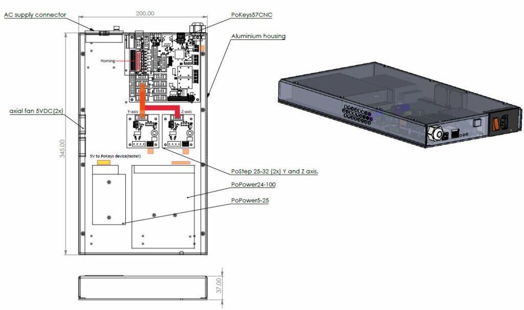 LINItester panel-eletronics (PoKeys57CNC)